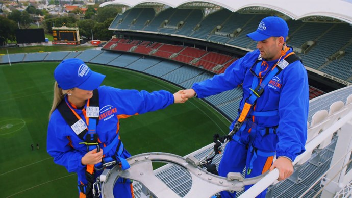 Bel and Haydn on their roof climb at the Adelaide Oval.