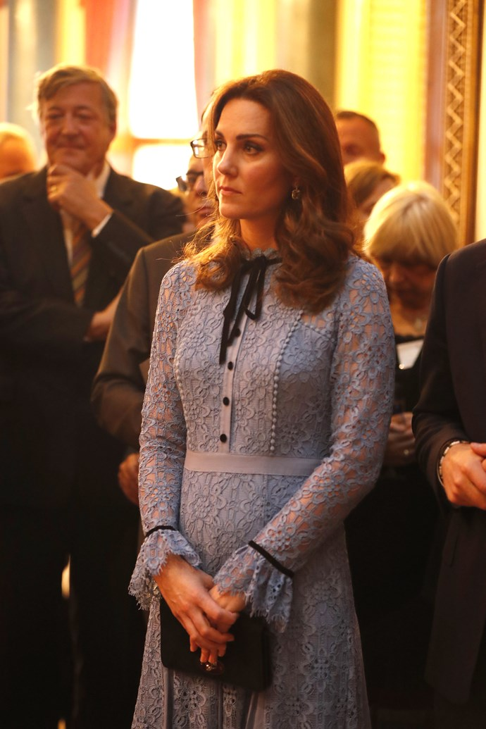 Catherine, Duchess of Cambridge, at Buckingham Palace at a reception to mark World Mental Health Day.
