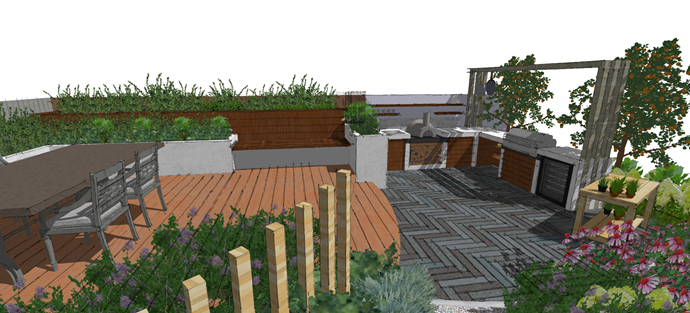 From another angle: concept for the outdoor kitchen Katie and Ben will exhibit at the NZ Flower and Garden Show, Nov 29 - Dec 3.