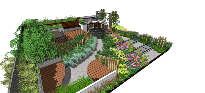 The concept for the outdoor kitchen Katie and Ben will exhibit at the NZ Flower and Garden Show, Nov 29 - Dec 3.