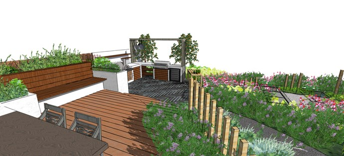 And another angle: the concept for the outdoor kitchen that Katie and Ben will exhibit at the NZ Flower and Garden Show.