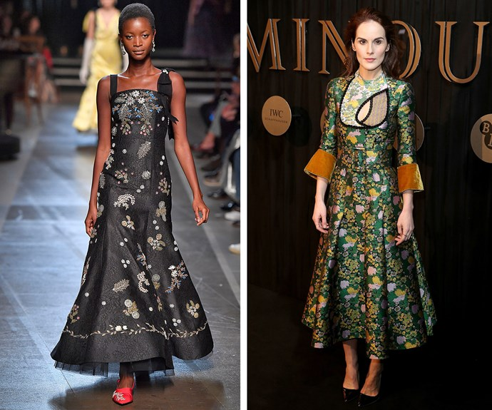 Left: Erdem's spring/summer '18 collection shown at London Fashion Week. Right: Michelle Dockery dons ready-to-wear Erdem to a film event last week.