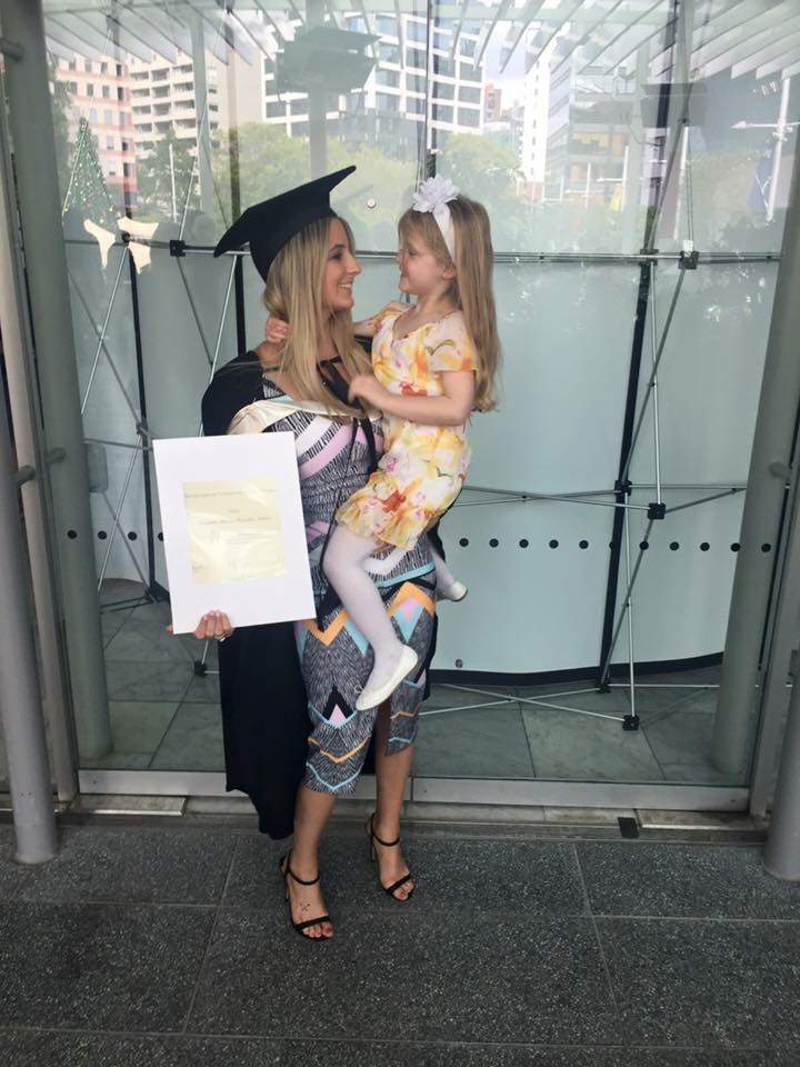 Graduating from AUT with a communications degree, with Lexi there to see her receive it.