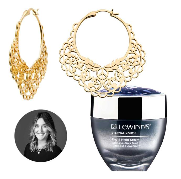 **Elise Wilson, beauty editor** I'm obsessed with all things shiny, and these earrings are perfect for the social season ahead, teamed with this day and night cream to keep my skin looking fresh.                                                                                                                                               *Earrings, $1,829, by Karen Walker. Dr. LeWinn's Eternal Youth Day & Night Cream, $70.*