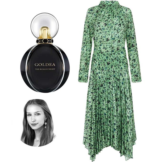 **Jessica-Belle Greer, writer.** Spring evenings are sussed with these party pieces, which have all the appeal of a dress, with the versatility of separates. Plus, every good night needs a seductive scent to go with it.                                                                             *Bvlgari Goldea The Roman Night EDP 75ml, $199. Skirt, $600, and top, $480, by Camilla and Marc.*