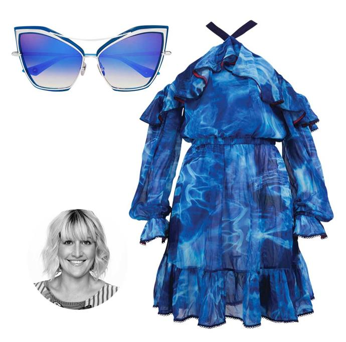 **Louise Hilsz, fashion editor.** After a long, cold winter, I'm ready to soak up some sun in this trending shade of blue. If I can't be seaside every day, I'll settle for wearing the ocean!                                                                                                  *Dita sunglasses, $845, from Sunglass Bar. Dress, $199, by Coop.*