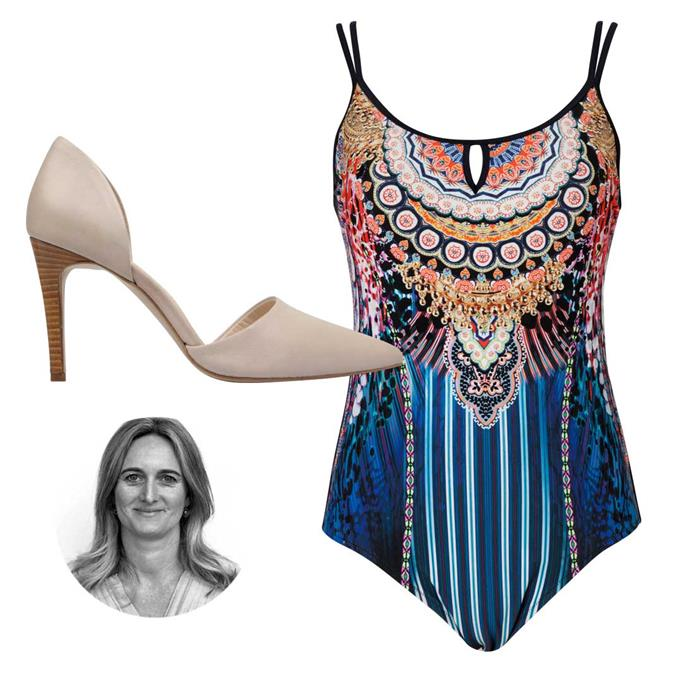 **Sylvie Horton, art director.** Inspired by our Real Housewives-esque resort shoot, I'll be maximising the poolside glam all summer long.                                               *Heels, $239, by Sempre Di. Swimsuit, $159, by Femme de ler Mer.*