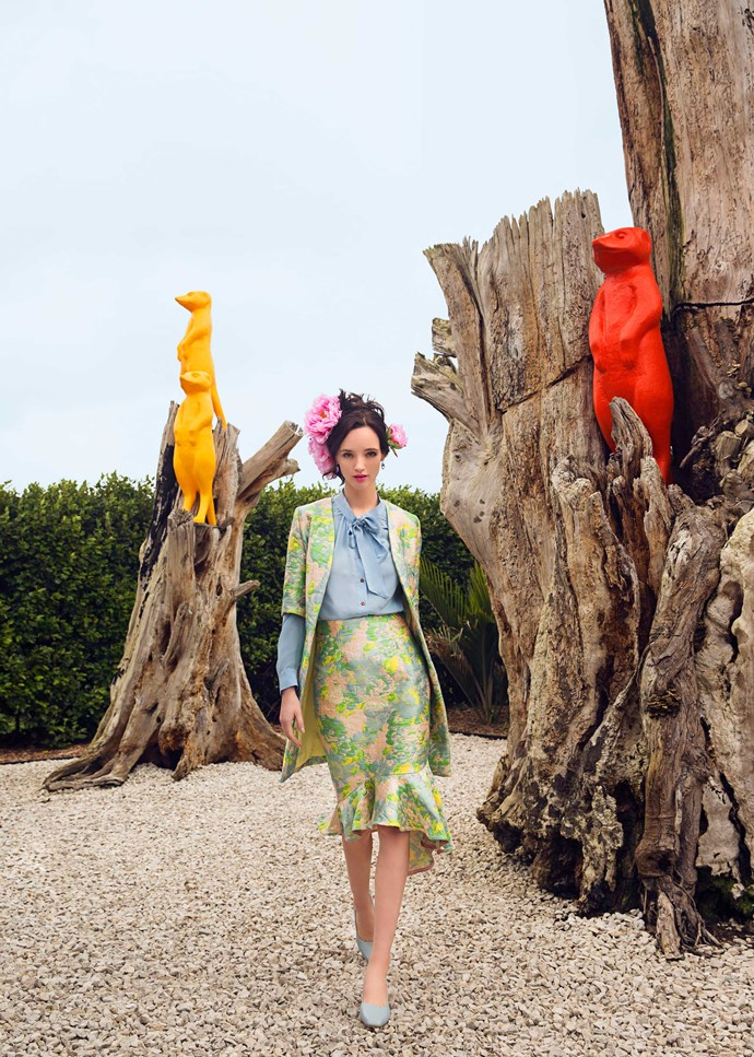 Try clashing colours - you'll end up with a modern look that is a little less tea-party.                                                       *Jacket, $699, and skirt, $499, by Trelise Cooper. Shirt, $399, by Ingrid Starnes. Earrings, $219, by Dyrberg/Kern. Heels, $329, by Chaos & Harmony.*