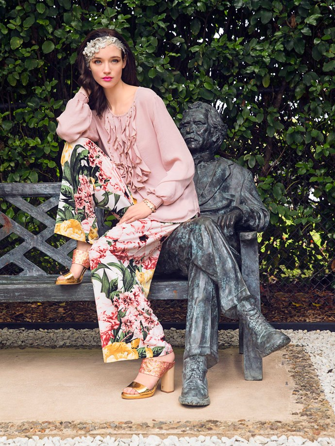 Bright, tropical florals lend themselves to a more casual resort look.                                                   *Top, $290, by Verge. Pants, $189, by Curate. Headpiece, $300, by Natalie Chan. Bracelet, $379, by Dyrberg/Kern. Heels, $349, by Kathryn Wilson.*
