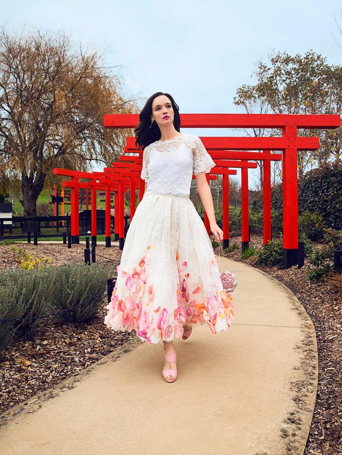 Ditch the red lippie and find your perfect shade of bright pink.                     *Top and skirt, $7,000, by Natalie Chan. Earrings, $249, by Dyrberg/Kern. Bag, $589, from Modes. Heels, $349, by Kathryn Wilson. Slip stylist's own.*