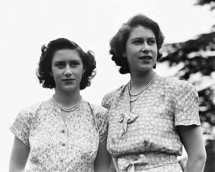 Princess Margaret with big sister Queen Elizabeth 11.