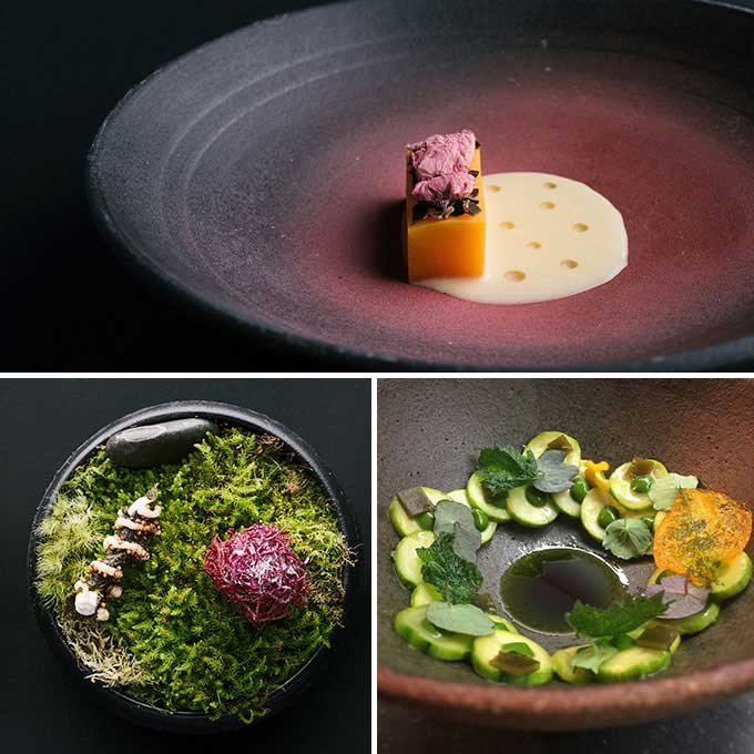 Top: Golden kūmara, salted cherry blossoms and koji (a fungus). Bottom left: An edible garden of beetroot fibre and nori. Bottom right: Courgette with seaweed and Cwmglyn cheese.