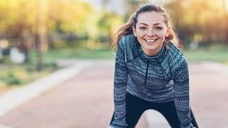 smiling running woman