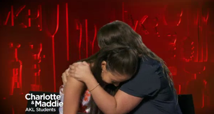 Charlotte and Maddie after finding out they're being sent home.