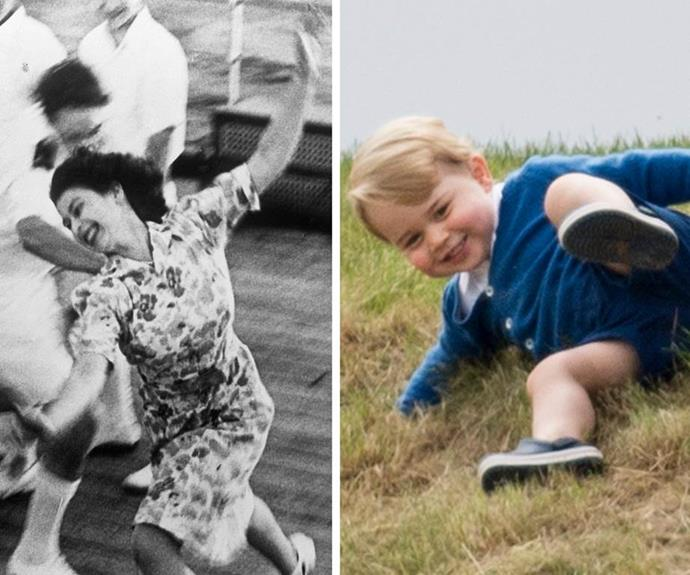 While many think cheeky George brought out out the candid side of the royals, a young Princess Elizabeth, aka Lilibet to her loved ones, also shared her great-grandson's sense of adventure.