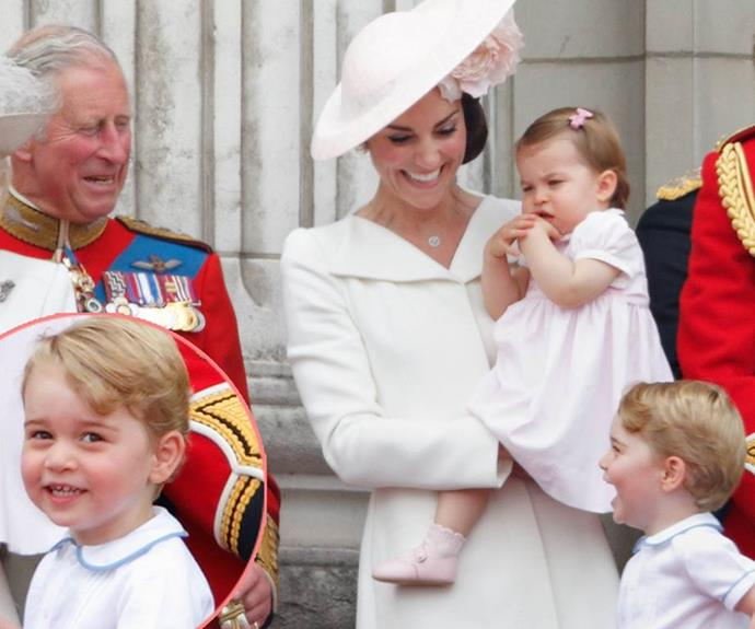 The adorable four-year-old had his grandfather Charles and mum roaring with laughter at Trooping the Colour last year. We're particularly fond of Charlotte's bemused expression, something we're expecting she'll master as the Prince's little sister.