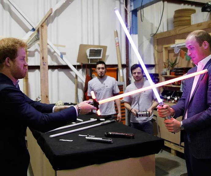 A battle for the books. Earlier this year, the brothers went to the Star Wars studio and got their hands on some lightsabers. May the force be with them.