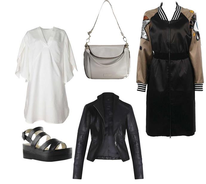 Shirt, $349, byIsaac & Lulu. Bag, $489, bySaben. Sandals, $329, byChaos & Harmony. Jacket, $800, byMoochi. Bomber coat, $399, byCurate.