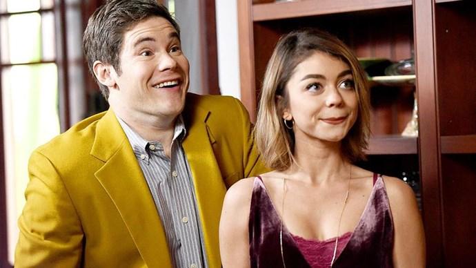 Sarah and Adam on set.