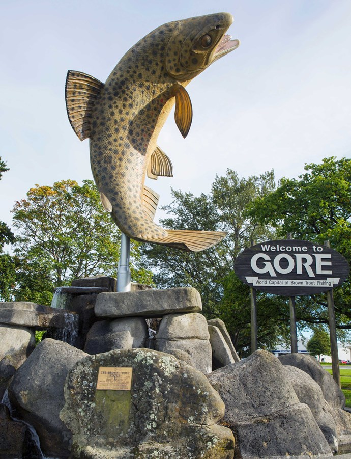 A giant statue celebrates Gore's status as the brown trout capital of the world.