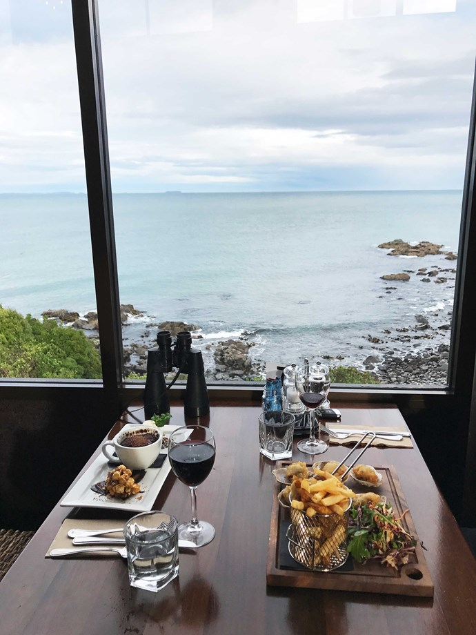 A feast at Bluff's Oyster Cove restaurant and bar, where you can look out for fishing boats and wildlife.