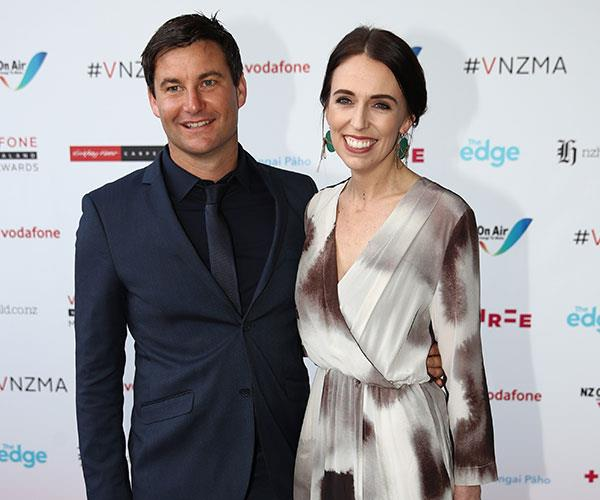 Clarke Gayford and Prime Minister Jacinda Ardern arrive for the Vodafone New Zealand Music Awards.