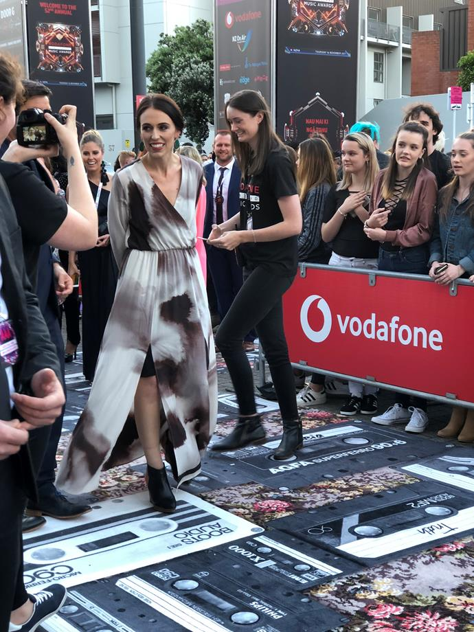 Prime Minister Jacinda Ardern makes her way up the red carpet.