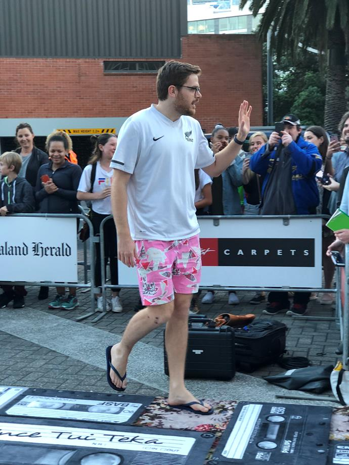 **Guy Williams, who adheres to no man's dress code, in Nike and Jandals which later came off**