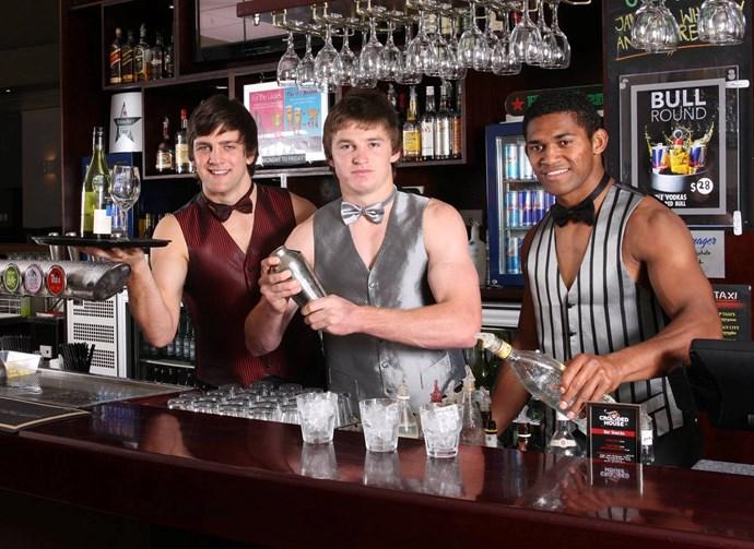 Heiden Bedwell-Curtis, Beauden Barrett and Waisake Naholo as July pinups for Taranaki Rugby's 2011/2012 charity calendar.