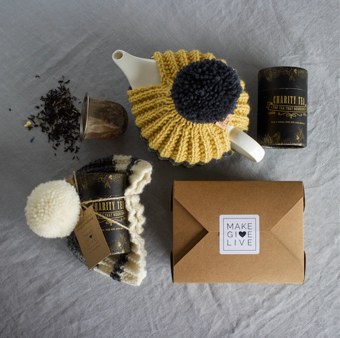 The handknitted beanie and tea cosy are also part of Make Give Live's Christmas collection.
