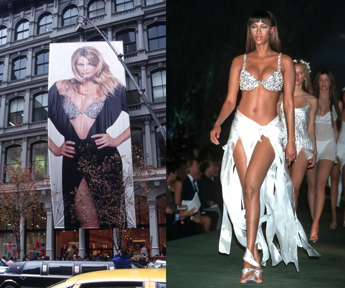 **1996:** The Million Dollar Miracle bra was originally worn by Claudia Schiffer, however was also worn by Tyra Banks in the 1999 VS Fashion show. Fitting to it's name, the bra is worth $1 million.