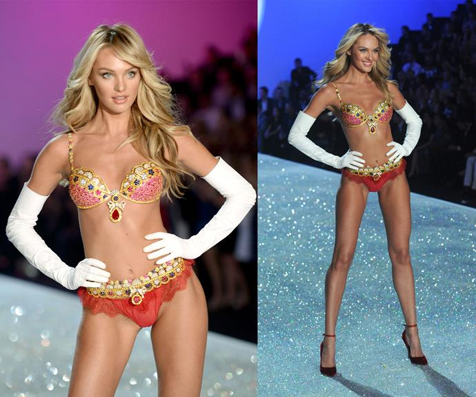 **2013:** Candice Swanepoel wore the Royal Fantasy bra worth $10 million.