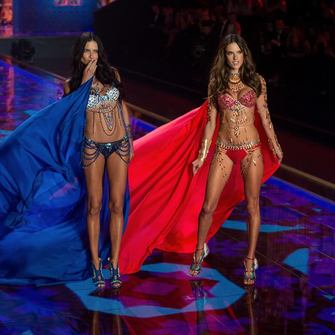 **2014:** Long time VS Angels, Adriana Lima, left, and Alessandra Ambrosio, right, were the first duo to share the honour of wearing fantasy bras together on the runway.
