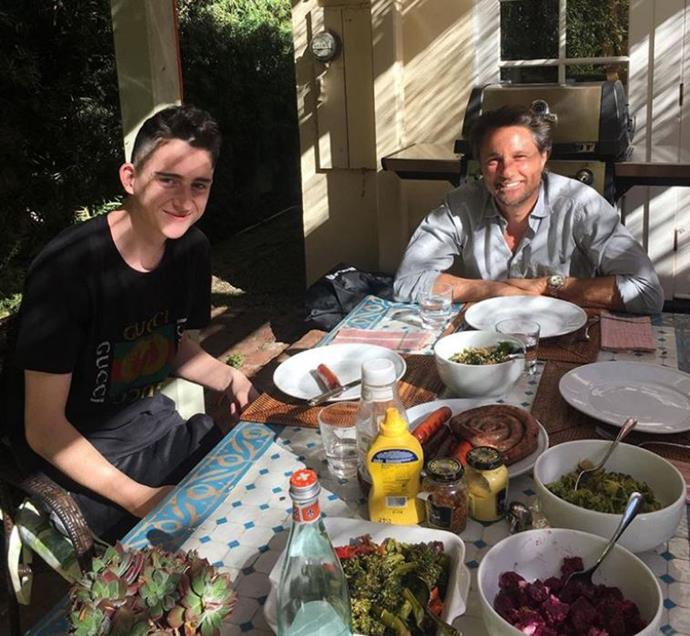 Kiwi actor Martin Henderson celebrated a non traditional Thanksgiving in L.A.  His girlfriend Helen Thorpe posted this image with the caption 'Happy Thanksgiving - grateful for these two. Enjoying a super sunny celebration.'