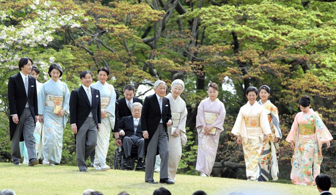 The Imperial family in 2016, with current ruler, Emperor Akihito, and his wife, Empress Michiko, at centre.
