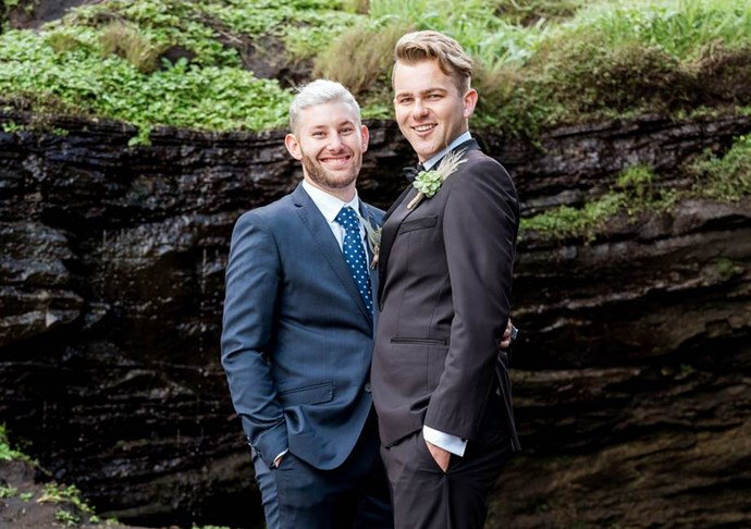 Aaron and Ben were all smiles on their wedding day.