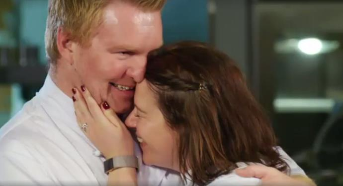 Chris and Bex react after being named the 2017 MKR NZ champions.