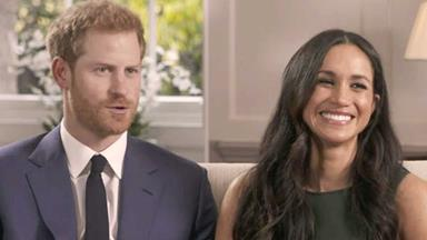 Prince Harry and Meghan Markle beam as they give their first interview as an engaged couple