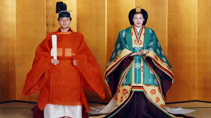 Crown Prince Naruhito of Japan and his bride Masako in their traditional wedding attire.