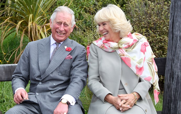 Prince Charles and Camilla share a laugh during their 2015 visit to New Zealand.