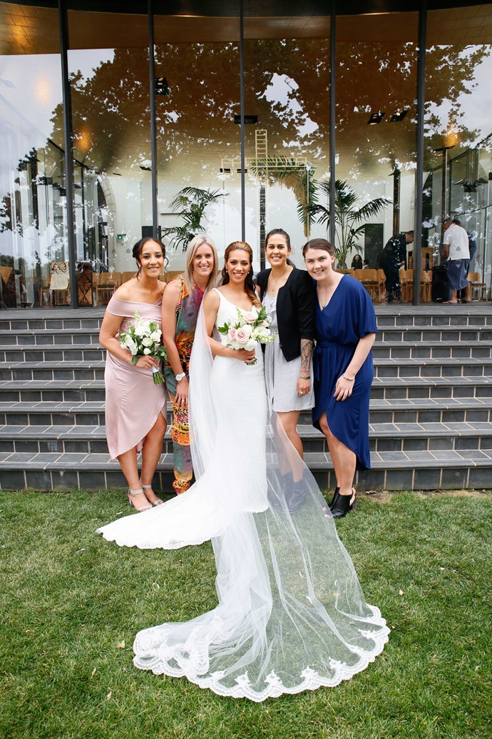 Netballers Rachel, Leana de Bruin, Paula Griffin and Ellen Halpenny congratulate the bride.