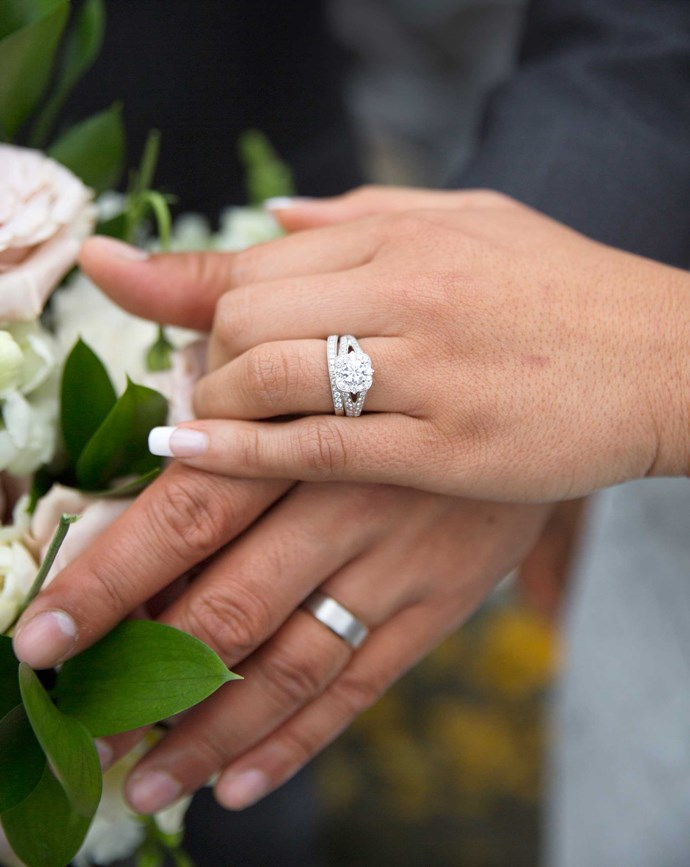 The couple's rings were crafted by Michael Hill.