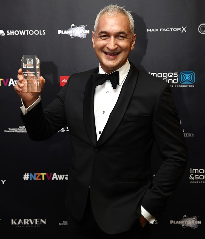 Mike McRoberts with his award for Best Presenter: News and Current Affairs. Photo / Getty Images
