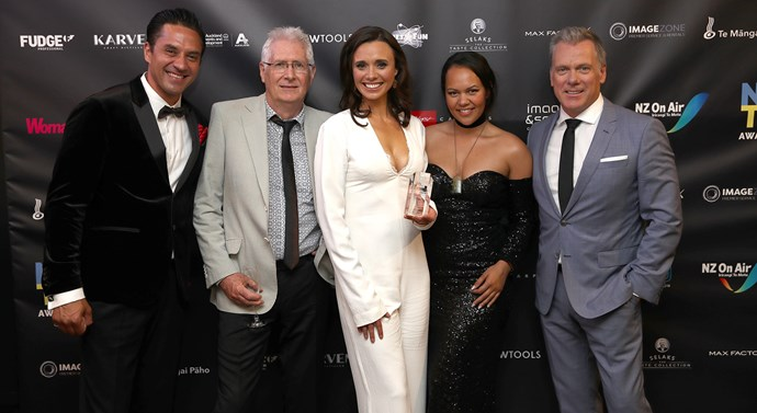 The cast of 800 Words with their award for Best Drama Series. Photo / Getty Images