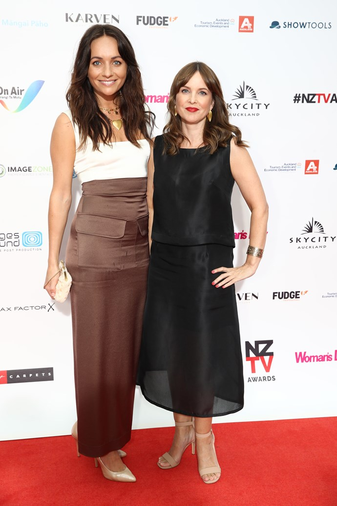 Former *Shortland Street* stars Grace Palmer and Angela Bloomfield on the red carpet. No sign of Grace's stepdad, Kiwi legend Jason Gunn.