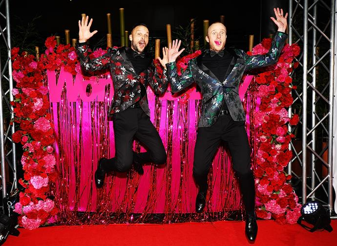 Ben Boyce and Jonno Pryor leaping onto the red carpet like the seasoned pros that they are.