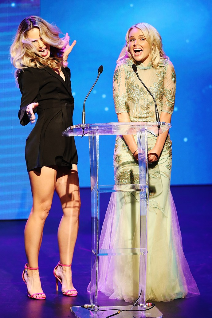 Anna Hutchison and Kimberley Crosman having plenty of fun as they present an award.