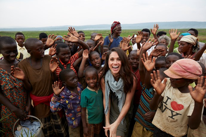 Meghan on one of her humanitarian missions with World Vision in Rwanda.
