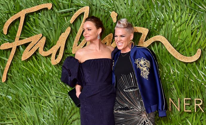 Stella McCartney and Pink try their best not to blend into one another, wearing Stella McCartney of course.
