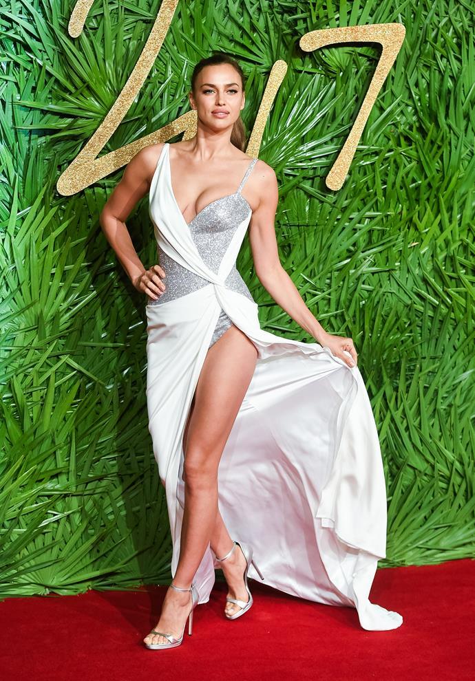 Russian model Irina Shayk did her best matador impression in Versace.